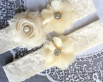 Wedding Garter Belt Set Bridal Garter Set Ivory Lace Garter Belt Lace Garter Set Rhinestone Crystal Pearl Center Garter GR118LX