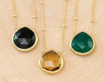 Gold Beaded Satellite Chain - Layered Necklaces - Small Drop Gemstone Pendant - Framed Stone Pendant - Gemstone Necklace - Layering Jewelry