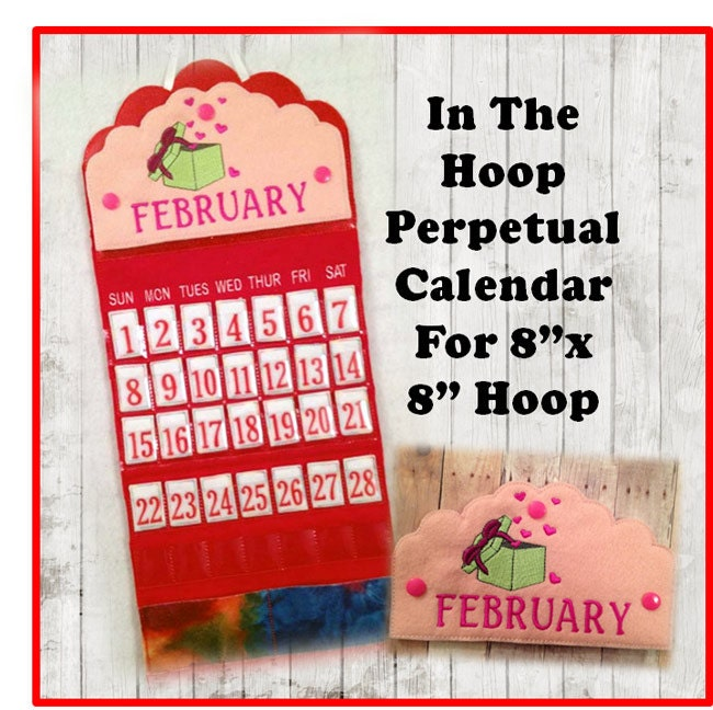 Calendar Embroidery Design : In the hoop perpetual calendar embroidery machine design