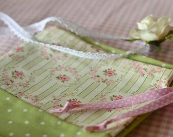 Shabby Chic Laundry Bag. Lingerie Bag. Sweet Rose Medallion. Polkadots. Green