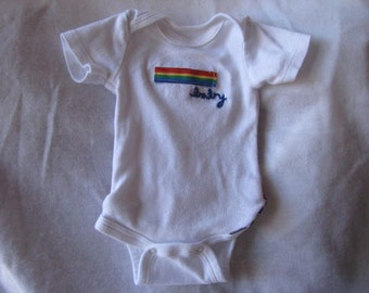 Upcycled Rainbow Baby Onsie with Rainbow Ruffle Bottom