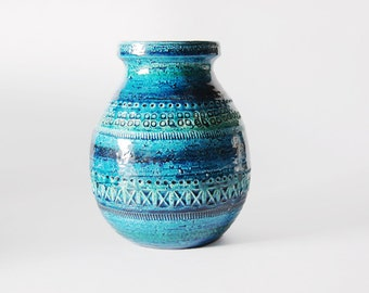 Hand Built Italian Blue Mid-Century Vase - Bitossi 60s