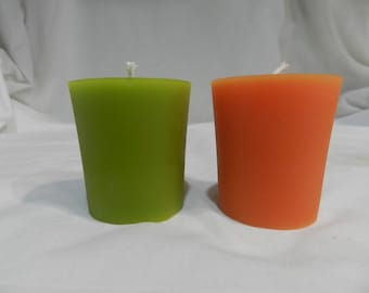 Pure Beeswax Standard Votive in Peach or Spring Green
