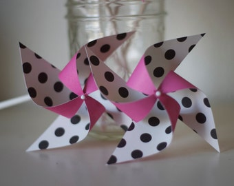 Minnie Mouse party decorations 12 mini pinwheels (custom orders welcomed)