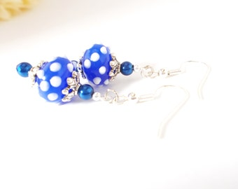 Polka Dot Lampwork Earrings, Royal Blue White Earrings, Cobalt Beaded Earrings, Blue Pearl Earrings, Navy Blue and White Earrings