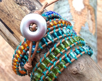 Beaded Leather Wrap Bracelet in Blues, Greens, and Oranges
