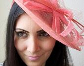 "Coral Fascinator Hat - ""Wendy"" Wide Brimmed Coral mesh Fascinator Hat Headband"