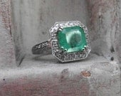 Colombian Emerald- Royal Style-Cocktail-promise-14 K white gold -engagement ring-one of a kind- sophisticated