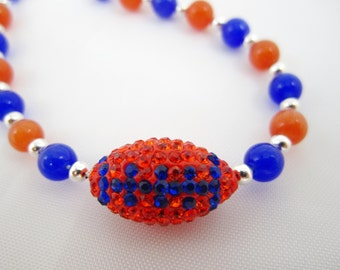 Orange Blue College Pave Football Necklace and Earring Set/ Florida Gator/ Under 25 Gift/earring choice