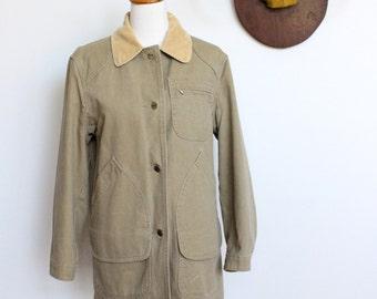 Vintage LL Bean Coat // Wool Lined Barn Coat // Chore Coat // Field Jacket Wool Blanket Lining // Womens Medium