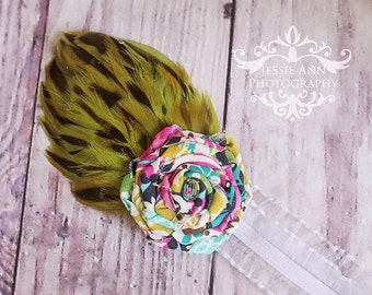 On Sale - Newborn Rolled Fabric Flower Headband