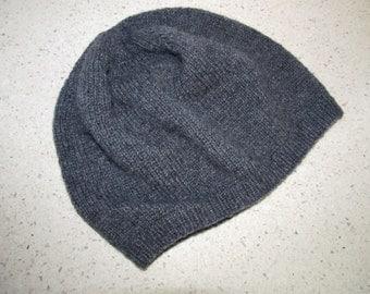 100% cashmere handknit dark gray beanie