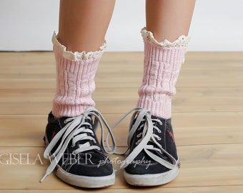 Adorable Lace Boot Cuffs, Pink Sneaker Sock, Boot Socks, Lace Leg Warmers, Lace Socks, Boot Toppers, Women Leg Warmers, Boot Cuffs