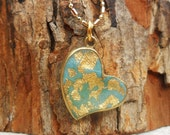 Gold heart necklace with  mint / turquoise and gold leaf , enamel necklace , charm necklace , hand made