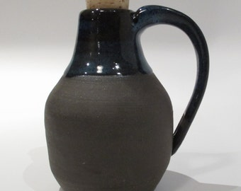 Handmade Pottery Bottle Ceramic Bottle in Rustic Blue and Dark Brown Stoneware