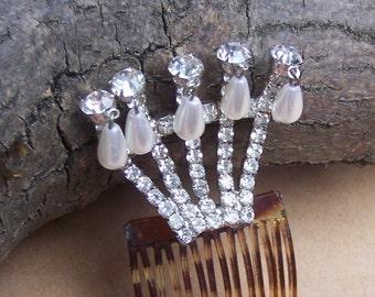 Hollywood Regency hair comb rhinestone with pearl dangles Hair Accessory Hair Pin Hair Pick Hair Slide