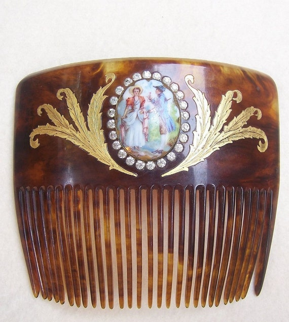 Antique Hair Comb Victorian Gold inlaid with Ceramic Pastoral Scene Hair Accessory Hair Pin Hair Pick Hair Slide Headdress