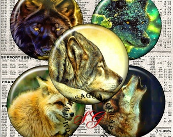 Forest Wolves Art - Digital Collage Sheets - 1.5, 1.0 inch Circles for Jewelry Supplies, Pendants, Magnets, Arts & Crafts