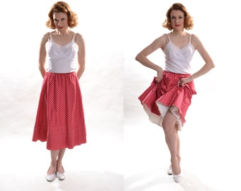 Vintage 1950s Red Cotton Petticoat - White Polka Dot - Organdy Ruffles Size S