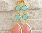Dangle Earrings in Coral Pink and Aqua. Drop Earrings. Long Earrings. Bridal Party Jewelry. Bridesmaids Earrings. Gift. Wedding Earrings.