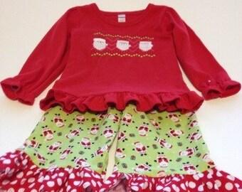SALE Christmas outfit Santa Ruffled Pants with Matching Santa Shirt