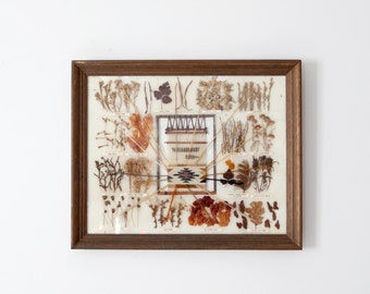 Navajo Dye Chart, vintage framed art piece, western wall decor