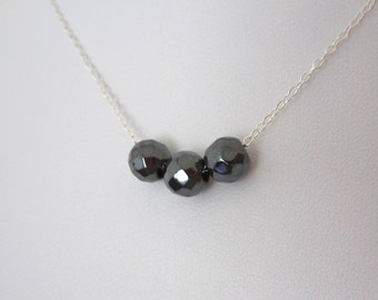 Minimalistic three grey Hematite gemstone beads floating sterling silver necklace