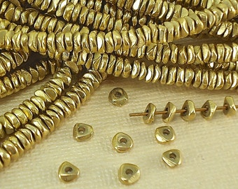 40 Raw Brass Heishi Spacer Disk 4mm Heishi Nugget chip Disc Loose Beads from India Flat tiny Metal Beads Natural Heishi