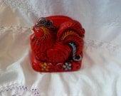 Country kitchen charming retro red chicken napkin holder