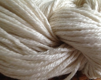 Natural White Merino/Silk Yarn, Aran Weight, Knitting, Weaving, Crochet, Dyeing