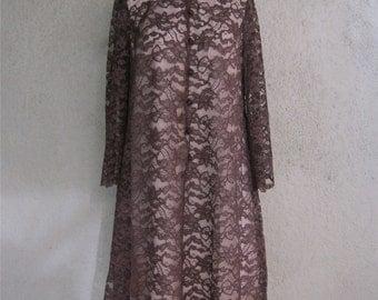 Carol Craig Dress - Brown Lace Dress for Joseph Magnin - Fabulous 60s Dress