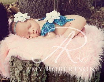NOUVELLE COLLECTION (Only 4 Available) - Gorgeous Sequin Turquoise Butterfly Wing Set - NEWBORN