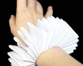 White Satin  Wrist Ruffs Ruffled Arm Bands Elizabethan Victorian Steampunk