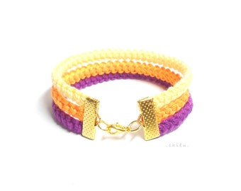 Crochet bracelet PURPLE, ORANGE and YELLOW Autumn theme  cotton yarn, gold metal lobster lock