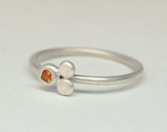 Orange sapphire and sterling silver little stacking ring