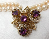 Antique Pendant Necklace Purple Gold Pearls Victorian 20 30's Stunning Floral statement Special day