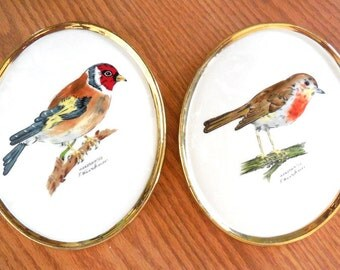 GOEBEL Bird Plaques set Robin/Goldfinch Hand Painted F Kirchner Porcelain 1975 Collectible Decor Numbered RARE Set gifts