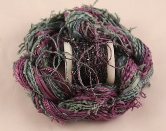Deep Purple Teal Blue Beaded Embroidery thread seed beads sequins hand dyed ribbon weaving supply quilting doll hair embellishment bead yarn