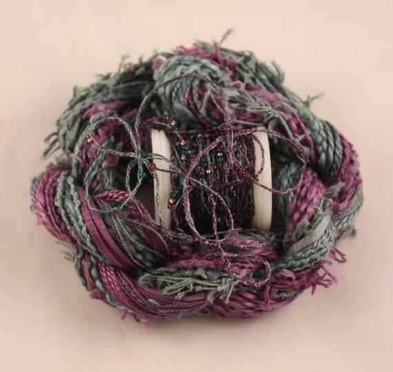 Deep purple teal blue beaded embroidery thread seed beads