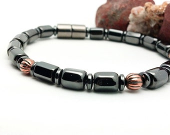 Magnetic and Copper Anklet therapy Unisex Hematite EXTREME Strength Magnetic Custom Sized Men women, pet jewelry Wellness Health