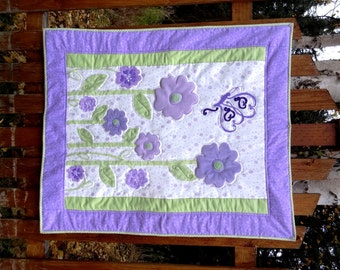 Purple Butterfly and flower flannel baby quilt- READY TO SHIP