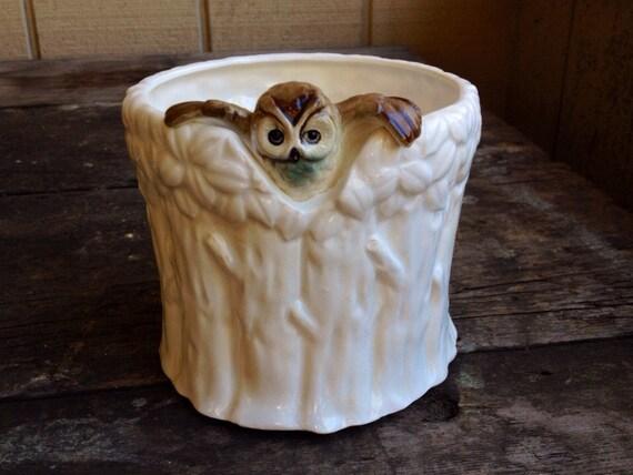 Vintage Owl Planter Owl Home Decor Owl By Dearolly On Etsy
