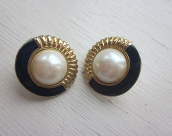 Lovely Faux Pearl, Navy Blue, and Goldtone Earrings, Vintage