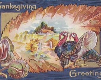 Thanksgiving Greetings- 1900s Antique Postcard- Chestnuts and Turkeys- Autumn Harvest Scene- Holiday Decor- Paper Ephemera- Used