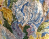 Vintage needlepoint cushion pillow featuring spray of irises