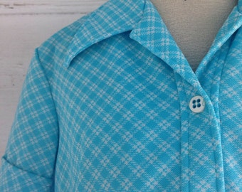 Vintage 60s 70s SKY Blue Gingham Top
