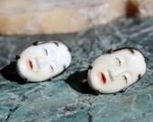 Vintage Japanese Toshikane Arita Porcelain Noh Mask Earrings