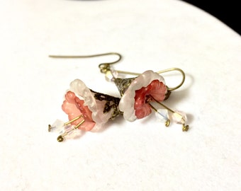 Pink, White, and Bronze Trumpet Flower Earrings