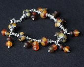 Beautiful Topaz Brown Fall Etched Glass Lampwork Beaded Sterling Silver Wire Wrap Bracelet