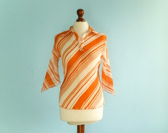 Vintage orange white blouse top / stripes striped / semi sheer / pleated / medium